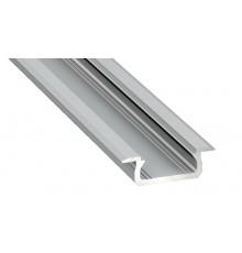 1m LED aluminium profile KL1, anodized, silver, set with diffuser