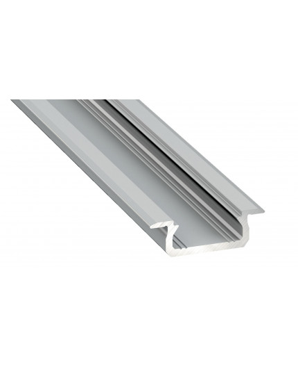 2m LED aluminium profile KL1, anodized, silver, set with diffuser
