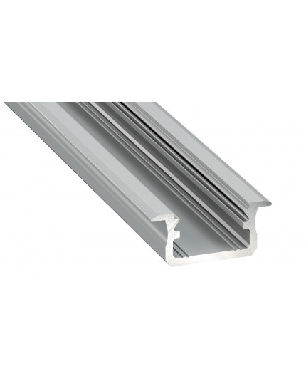 1m LED aluminium profile K1, anodized, silver, set with diffuser