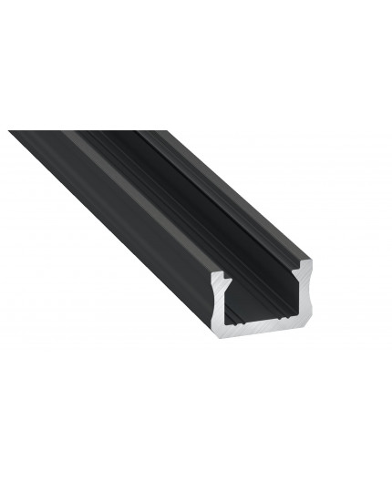 K0, 1m / 1000mm, mini LED aluminium extrusions (anodized, black) 12mm x 8mm with diffuser and end caps (option)