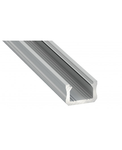 K0, 2m / 2000mm, mini LED aluminium extrusions (anodized, silver) 12mm x 8mm with diffuser and end caps (option)
