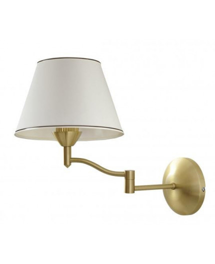 Stylish Wall Lamp, fabric shade, brass look, with wooden element