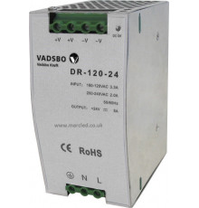 120W 24VDC DR120/24 Switching Power Supply for DIN Rail Mounting, Vadsbo