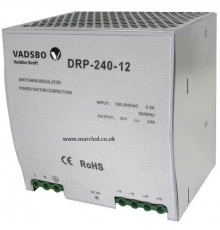 240W 12VDC DR240/12 Switching Power Supply for DIN Rail Mounting, Vadsbo
