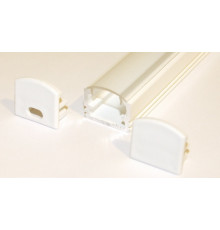 PH2 LED profile 2m / 2000mm surface high extrusion, painted aluminium, white, with transparent diffuser