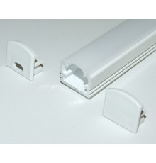 PH2 LED profile 2m / 2000mm surface high extrusion, painted aluminium, white, with opal diffuser