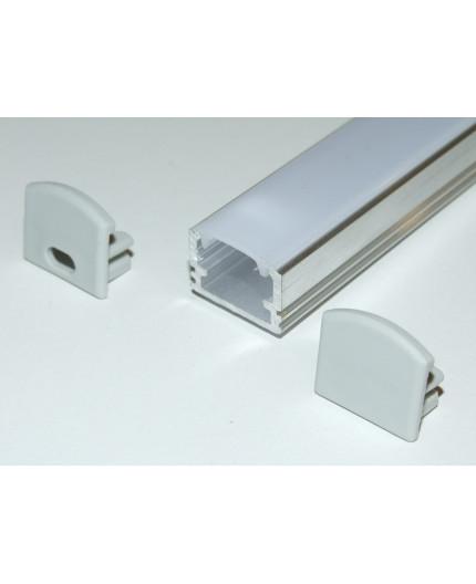 PH2 surface high LED profile 1m, raw aluminium, with diffuser