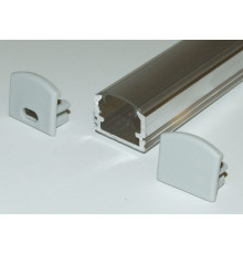 PH2 LED profile 1m / 1000mm surface high extrusion, raw aluminium, with transparent diffuser