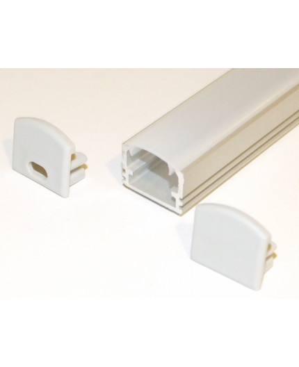 PH2 LED profile 1.5m / 1500mm surface high extrusion, anodized aluminium, silver, plus diffuser