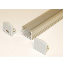 PH2 LED profile 1.5m / 1500mm surface high extrusion, anodized aluminium, silver, plus transparent diffuser
