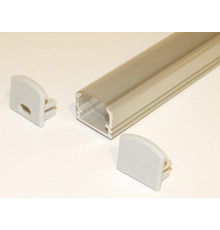PH2 LED profile 1.5m / 1500mm surface high extrusion, anodized aluminium, silver, plus transparent diffuser