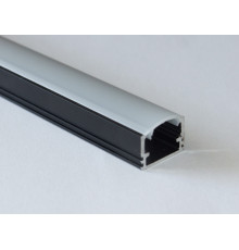PH2 LED profile 2m / 2000mm surface high extrusion, anodized aluminium, black, with opal diffuser
