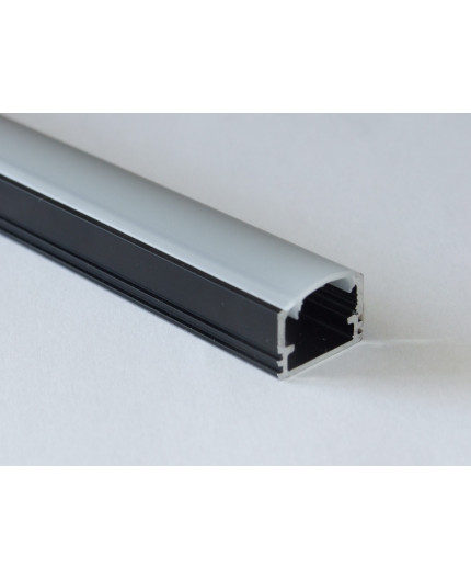PH2 LED profile 2m / 2000mm surface high extrusion, anodized aluminium, black, with diffuser