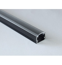 PH2 LED profile 2.5m / 2500mm surface high extrusion, anodized aluminium, black, with transparent diffuser