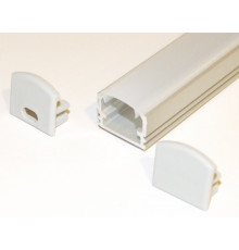 PH2 LED profile 3m / 3000mm surface high extrusion, anodized aluminium, silver, with opal diffuser