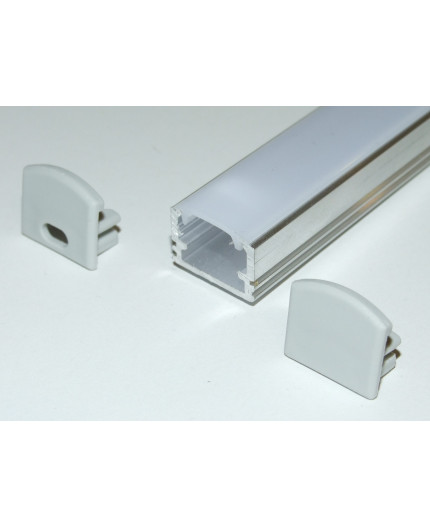 PH2 LED profile 3m / 3000mm surface high extrusion, raw aluminium, with opal diffuser