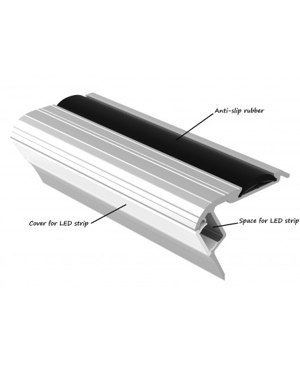 Bus1 LED profile 2m / 2000mm, step light extrusion, anodized aluminium, silver, with diffuser and rubber insert