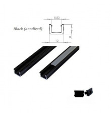MINI aluminium extrusions  for LED lighting - black anodized