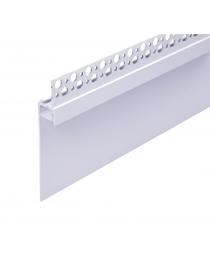 2.5m Plater-in LED profile DW1 for ceiling and drywall, set with opal cover