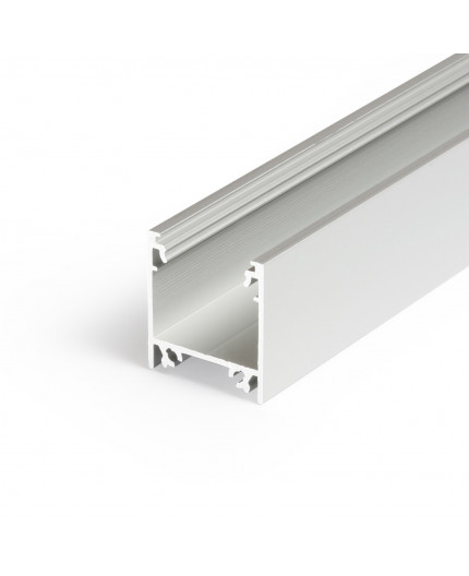 2m / 2000mm TL2 LED profile (anodized, silver), 23mm x 25mm, set with opal cover