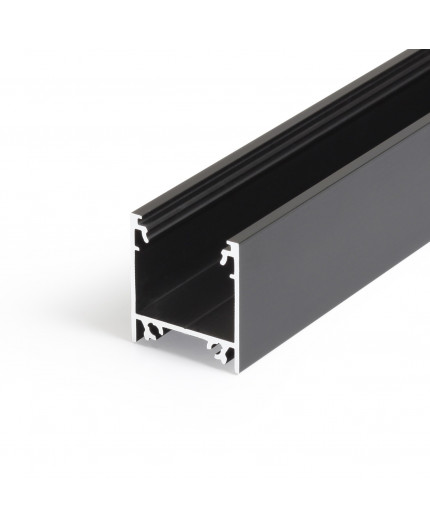 2m / 2000mm TL2 LED profile (anodized, black), 23mm x 25mm, set with opal cover