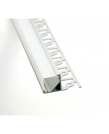 2m / 2000mm Corner Plater-in LED profile 3DC for drywall, set with opal cover