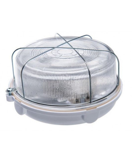 OLIVIA Ceiling / Wall Bulkhead Light Lamp, ES / E27, max.100W, IP54, white bakelite, glass cover, steel cage