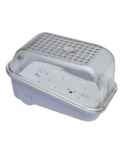 9W 4000K 1250lm ANGOLO Bulkhead Ceiling / Wall LED Light Lamp, IP54, white bakelite, polycarbonate cover, IK10