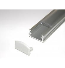P2 2m / 2000mm surface extrusion, anodized aluminium, silver, plus diffuser