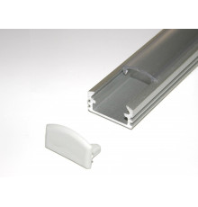 P2 LED profile 2m / 2000mm surface extrusion, anodized aluminium, silver, plus diffuser