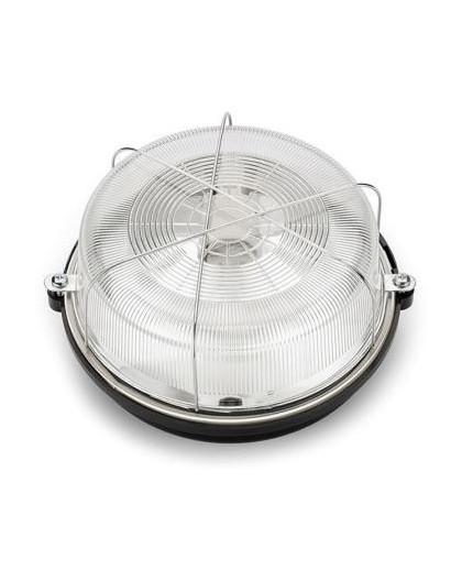 OLIVIA Ceiling / Wall Bulkhead Light Lamp, ES / E27, max.100W, IP54, black bakelite, glass cover, steel cage