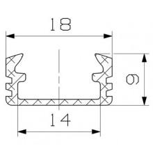 P2 LED profile 2m / 2000mm surface extrusion, anodized aluminium, silver, plus diffuser
