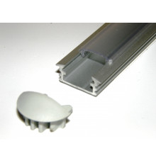 P1 LED profile, 2m / 2000mm recessed extrusion, anodized aluminium, silver, plus diffuser