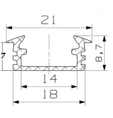 P1 LED profile, 2m / 2000mm recessed extrusion, anodized aluminium, silver, plus diffuser