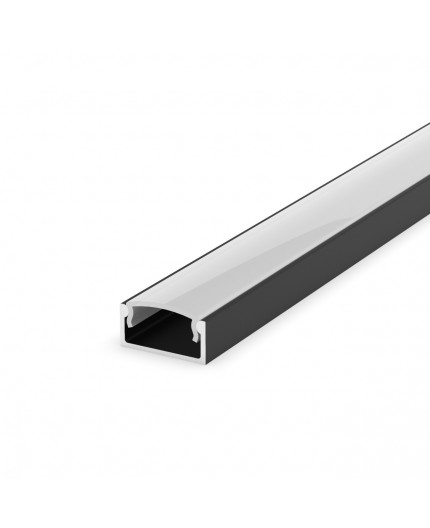 E2 black 2m / 2000mm LED ALU U-profile 15mm x 7mm with high quality diffuser