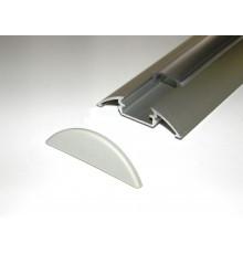 P4 LED profile 2m / 2000mm surface extrusion, anodized aluminium, silver, plus diffuser