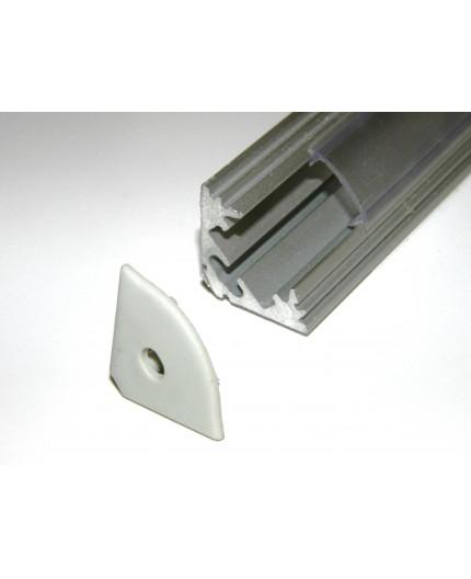 P3 LED profile 2m / 2000m corner 45 extrusion, anodized aluminium, silver, plus diffuser