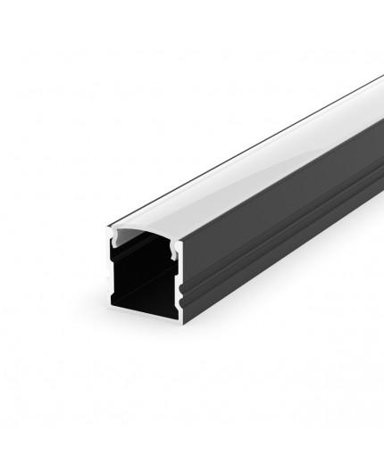 EH2 black 1m / 1000mm LED ALU high U-profile 15mm x 15mm with high quality diffuser