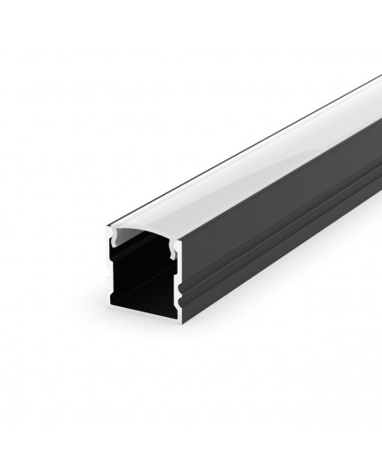 EH2 black 2m / 2000mm LED ALU high U-profile 15mm x 15mm with high quality diffuser