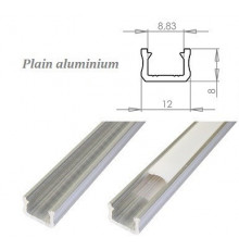 K0, 2m / 2000mm, mini LED plain aluminium extrusions 12mm x 8mm with diffuser and end caps (option)