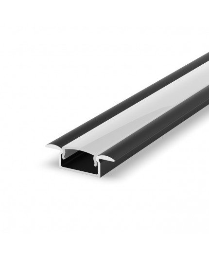 E1 2m / 2000mm recessed black LED aluminium extrusion 15mm x 6mm with high quality diffuser