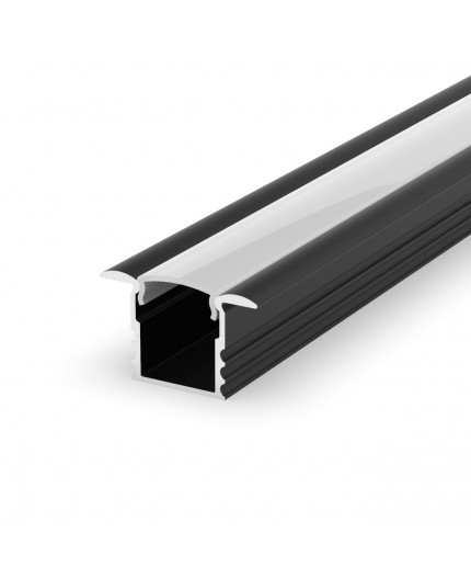 EH1 black 2m / 2000mm recessed LED aluminium extrusion 15mm x 14mm with high quality diffuser
