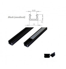 K0, 2m / 2000mm, mini LED aluminium extrusions (anodized, black) 12mm x 8mm with diffuser and end caps (option)
