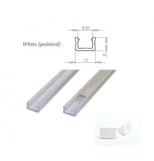 K0, 2m / 2000mm, mini LED aluminium extrusion (painted, white) 12mm x 8mm with diffuser and end caps (option)