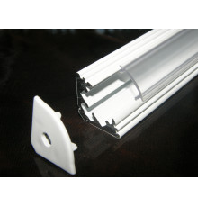 P3 LED profile 2m / 2000m corner 45 extrusion, painted aluminium, white, with diffuser