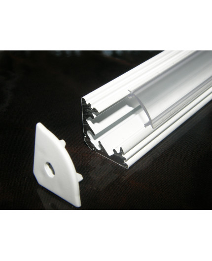 P3 LED profile 2m / 2000m corner 45 extrusion, painted aluminium, white, with diffuser