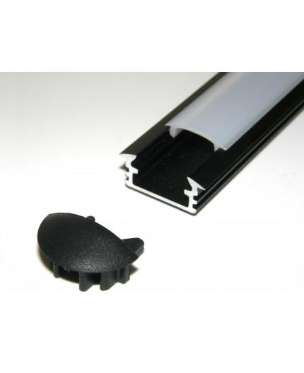 P1 LED profile, 2m / 2000mm recessed extrusion, anodized aluminium, black, with diffuser