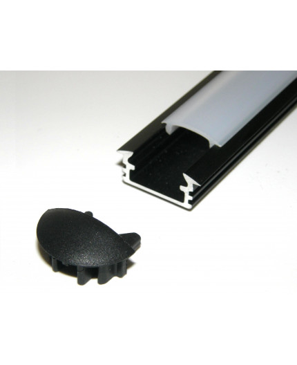 P1 recessed LED profile, 2m, anodized aluminium, black, with diffuser