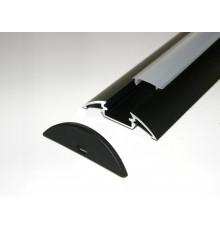 P4 LED profile 2m / 2000mm surface extrusion, anodized aluminium, black, plus diffuser