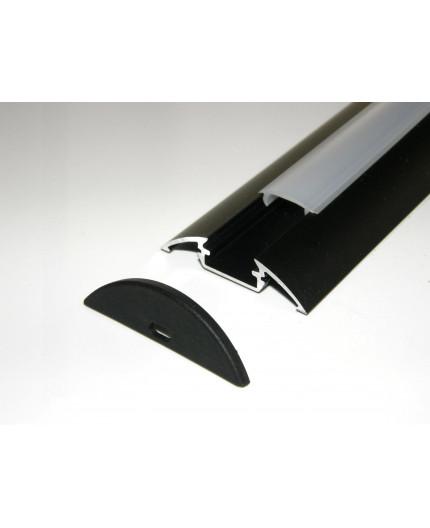 P4 surface LED profile 2m, anodized aluminium, black, plus diffuser